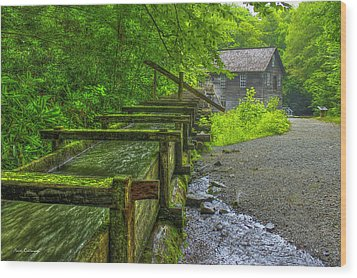 Wood Print featuring the photograph Waterworks Mingus Mill Mingus Creek Art  Great Smoky Mountains Art by Reid Callaway