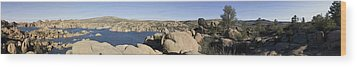 Watson Lake Wood Print by Austin Troya