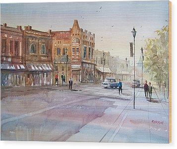 Waupaca - Main Street Wood Print by Ryan Radke