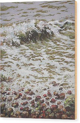 Wood Print featuring the painting Wave And Colorful Pebbles by Martin Davey