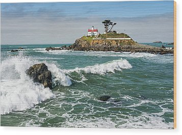 Wave Break And The Lighthouse Wood Print by Greg Nyquist