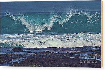 Wave Breaking On Lava Rock 2 Wood Print