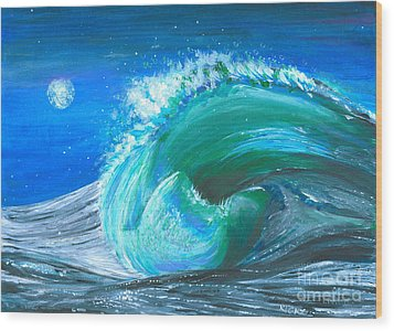 Wave Wood Print by Veronica Rickard