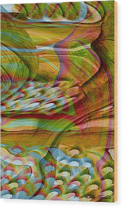 Waves And Patterns Wood Print by Linda Sannuti