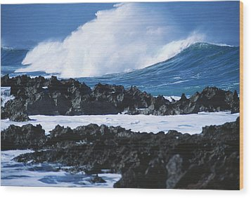 Waves And Rocks Wood Print by Kyle Rothenborg - Printscapes