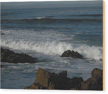 Waves And Rocks Wood Print by Sharon McKeegan