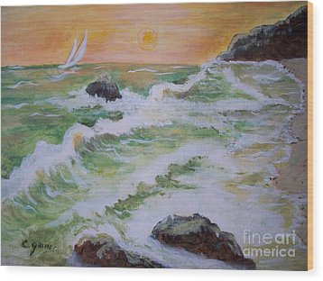 Wood Print featuring the painting Waves Ashore by Carol Grimes