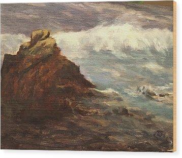 Waves At Dusk Wood Print