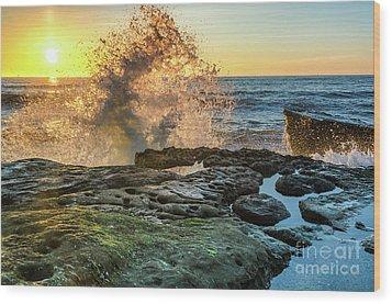 Waves At Sunset Cliffs Wood Print