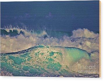 Waves Breaking Wood Print