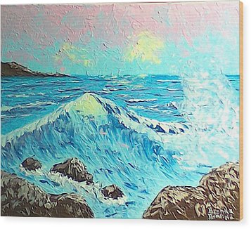 Waves Wood Print by Brenda Bonfield