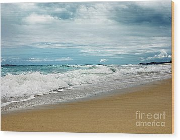 Wood Print featuring the photograph Waves Clouds And Sand By Kaye Menner by Kaye Menner