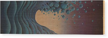 Waves Crashing Wood Print by Tim Foley