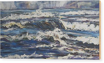 Wood Print featuring the painting Waves by Debora Cardaci