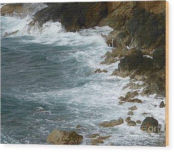 Waves Lashing Rocks Wood Print by Margaret Brooks