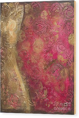 Waves Of Circles On Fuchsia Wood Print