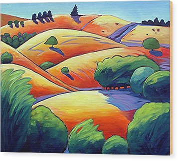 Waves Of Hills Wood Print by Gary Coleman