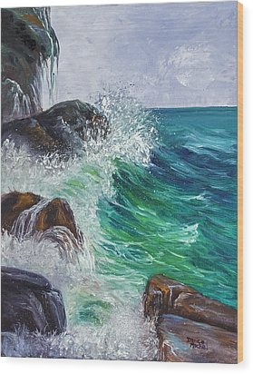 Wood Print featuring the painting Waves On Maui by Darice Machel McGuire