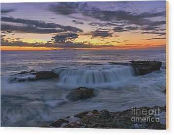 Wood Print featuring the photograph Wave Over The Rocks by Eddie Yerkish