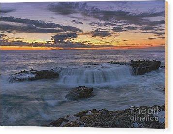 Wave Over The Rocks Wood Print by Eddie Yerkish