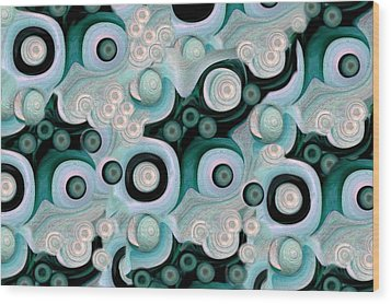 Waves Seashells Foam And Stones In Turquoise Wood Print by Jacqueline Migell