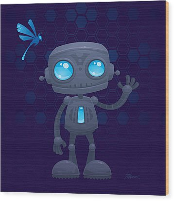 Waving Robot Wood Print by John Schwegel