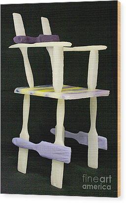 Wax Chair Wood Print by Karen  Peterson