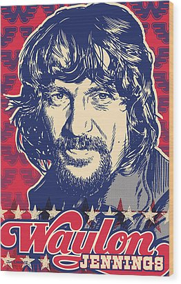 Waylon Jennings Pop Art Wood Print