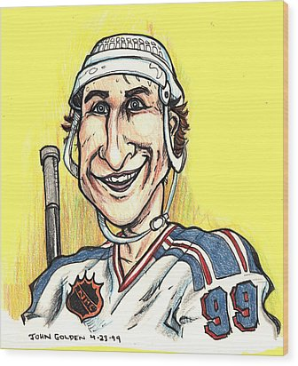 Wayne Gretsky Caricature Wood Print by John Ashton Golden