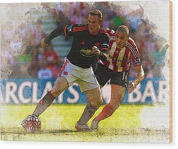 Wayne Rooney Is Marshalled Wood Print