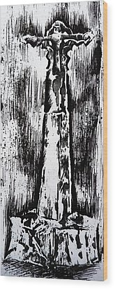 Wayside Cross Wood Print by Lucy Deane