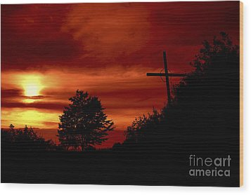 Wayside Cross Wood Print by Michal Boubin