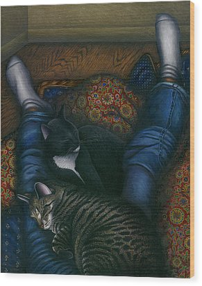 We 3 Nap With My Cats Wood Print by Carol Wilson