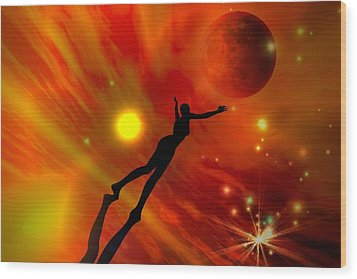 Wood Print featuring the digital art We All Shine On Like The Moon And The Stars And The Sun by Shadowlea Is