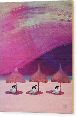 Wood Print featuring the digital art We Are But Sheep On The Beach by Jean Moore