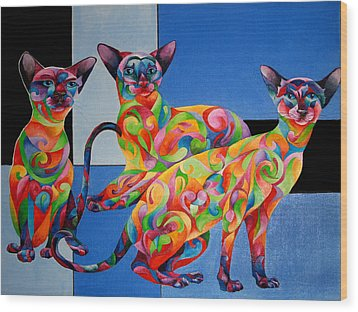 We Are Siamese If You Please Wood Print by Sherry Shipley