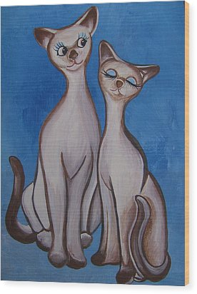 Wood Print featuring the painting We Are Siamese by Leslie Manley