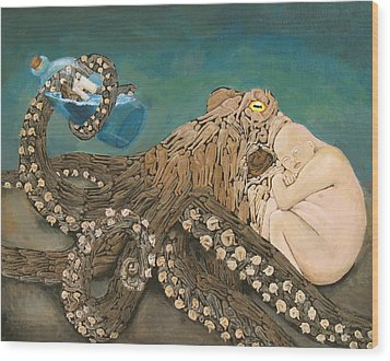 We Are The Kraken Of Our Own Sinking Ships Wood Print by David  Nixon