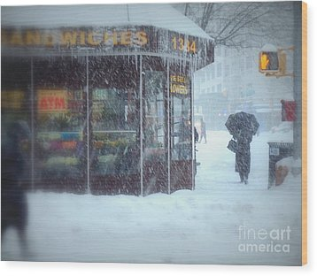 We Sell Flowers - Winter In New York Wood Print