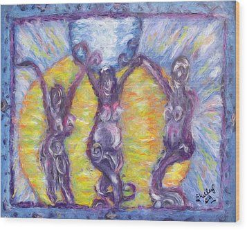 Wood Print featuring the painting We Three by Shelley Bain