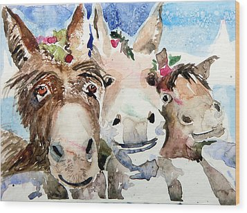We Three Wise Asses Wood Print by Mindy Newman