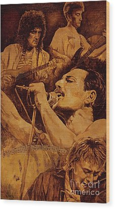 Wood Print featuring the painting We Will Rock You by Igor Postash