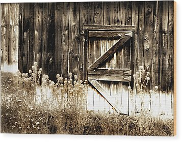 Wood Print featuring the photograph Weathered Barn Door by Gray  Artus