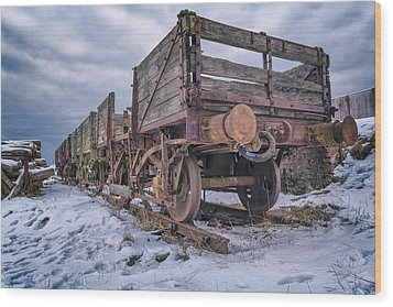 Weathered Coal Carts Wood Print by Stewart Scott