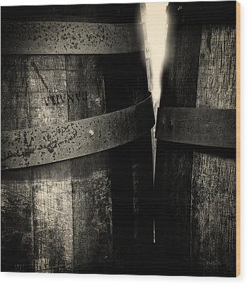 Wood Print featuring the photograph Weathered Old Apple Barrels by Bob Orsillo
