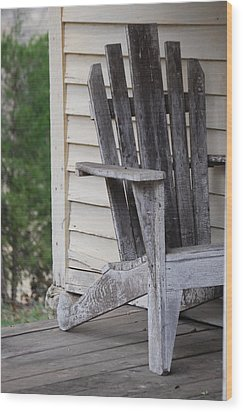 Wood Print featuring the photograph Weathered Porch Chair by Debbie Karnes