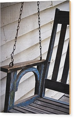 Wood Print featuring the photograph Weathered Porch Swing by Debbie Karnes