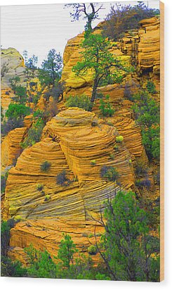 Weathered Rock Wood Print by Dennis Hammer