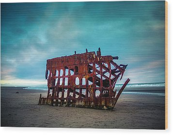 Weathered Rusting Shipwreck Wood Print by Garry Gay
