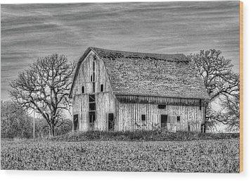 Weathered Wood Of Iowa Wood Print